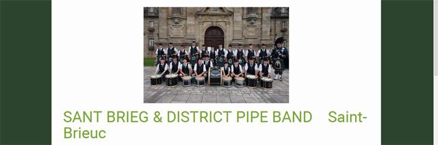 le Pipe de Saint brieux, ensemble de cornemuses, caisses claires, ténors et grosse caisse. Pipe Band.