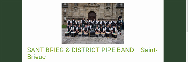 le Pipe de Saint Brieux, ensemble de cornemuses, caisses claires, ténors et grosse caisse. Pipe Band